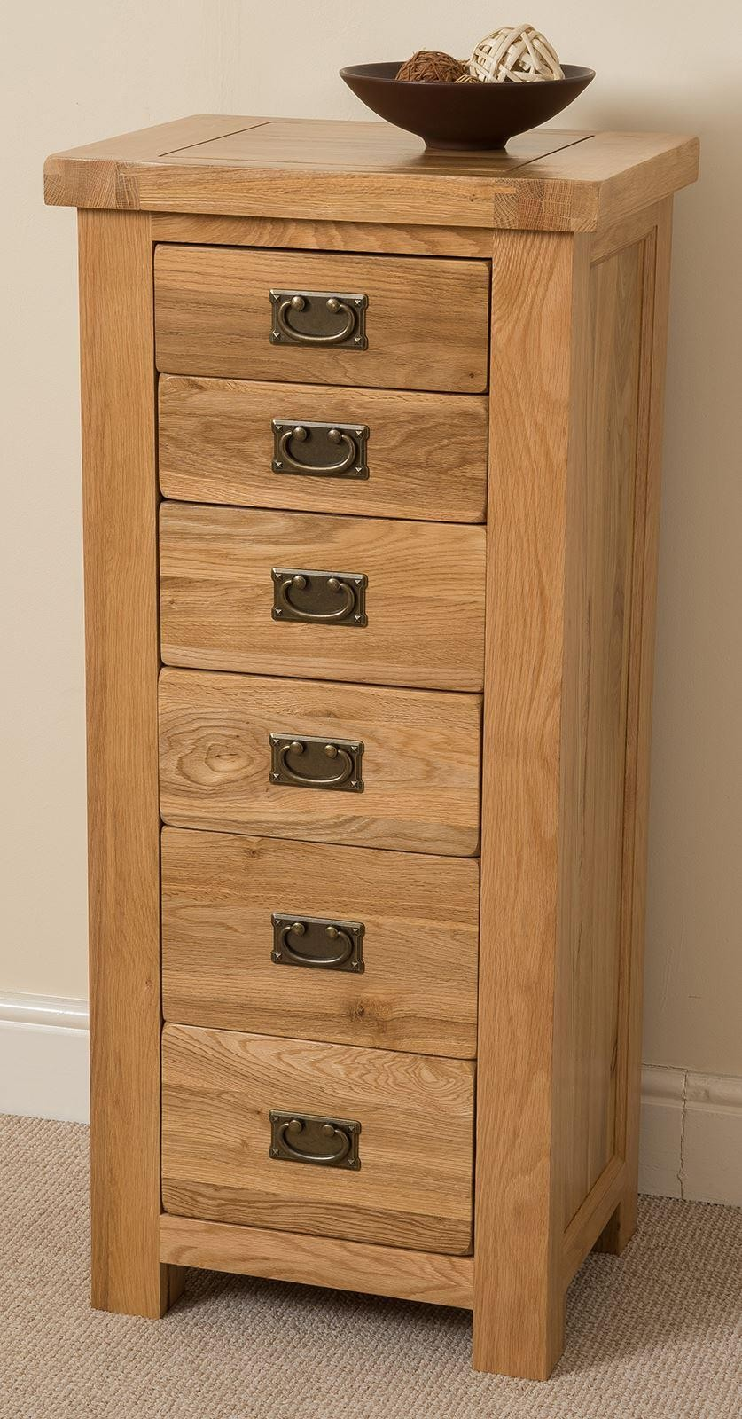 Cottage Light Solid Oak Tallboy [6 drawer]