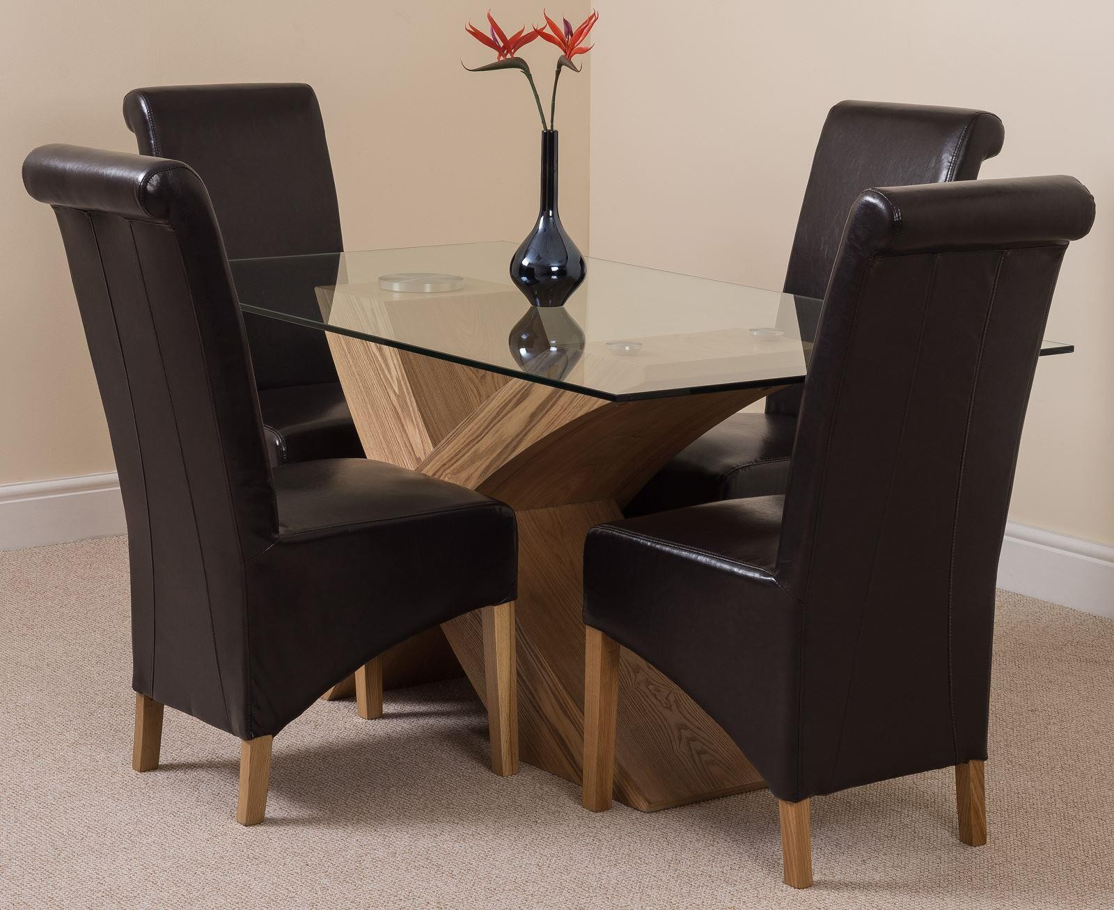 Valencia Oak 160cm Wood and Glass Dining Table with 4 Montana Dining Chairs [Brown Leather]