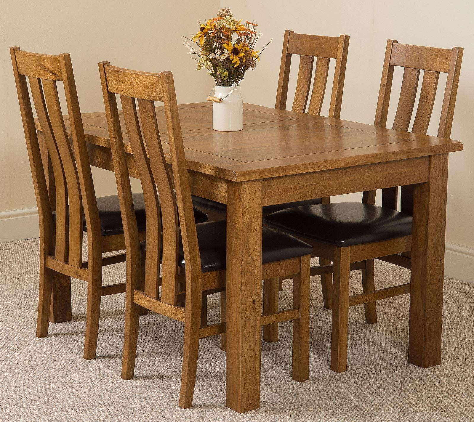Cotswold Rustic Solid Oak 132cm-198cm Extending Farmhouse Dining Table with 4 Princeton Solid Oak Dining Chairs [Rustic Oak and Brown Leather]