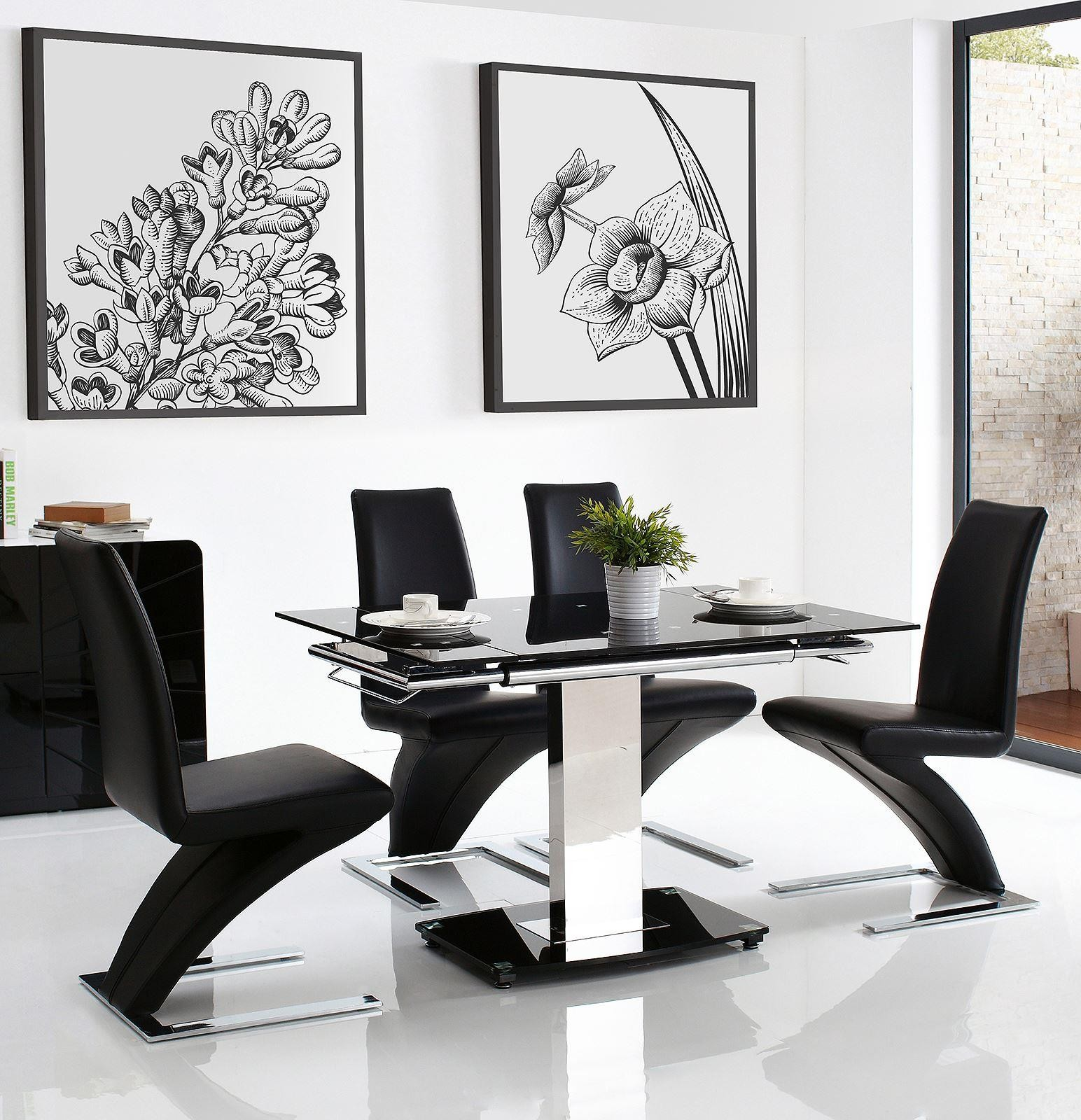 Enzo Dining Set With 4 Black Chairs | Modern Furniture Direct