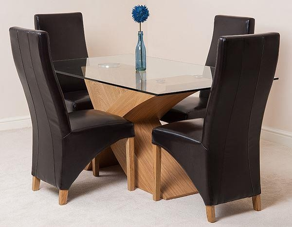 Valencia Oak 160cm Wood and Glass Dining Table with 4 Lola Dining Chairs [Brown Leather]