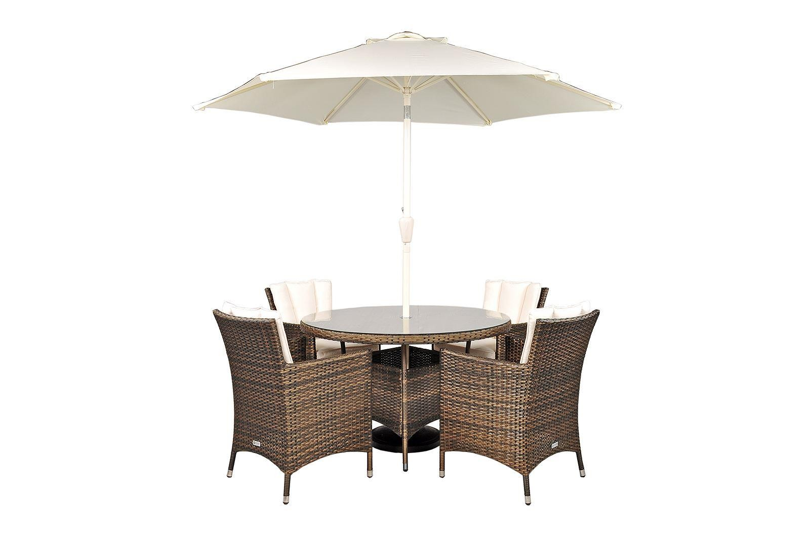 Savannah Rattan Garden Furniture [4 Seat Dining Set Plus Back Cushion]
