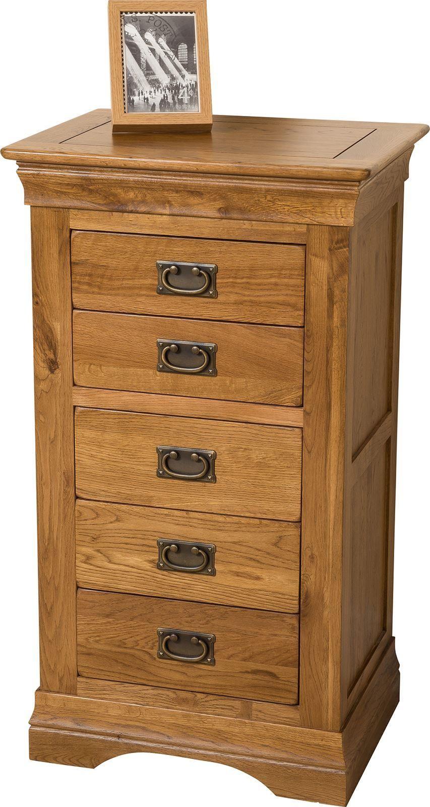 French Chateau Rustic Solid Oak Tallboy [5 drawer]