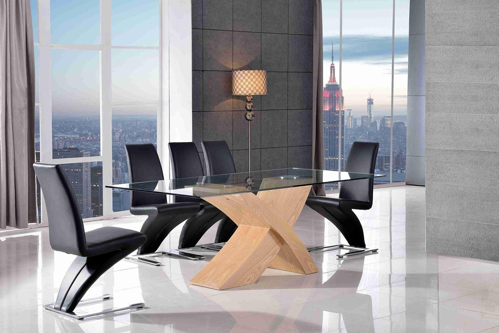 Valencia Black 200cm Wood and Glass Dining Table with 8 Zed Designer Dining Chairs [Black]
