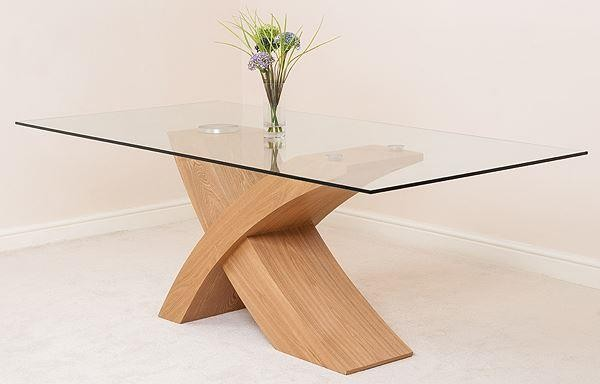 Valencia Oak 200cm Wood and Glass Dining Table