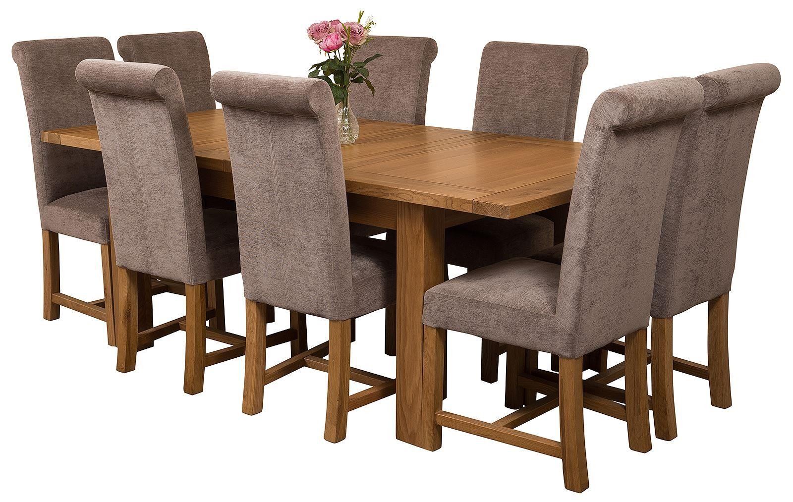 Seattle Extending Oak Dining Table With 8 Black Lola Chairs