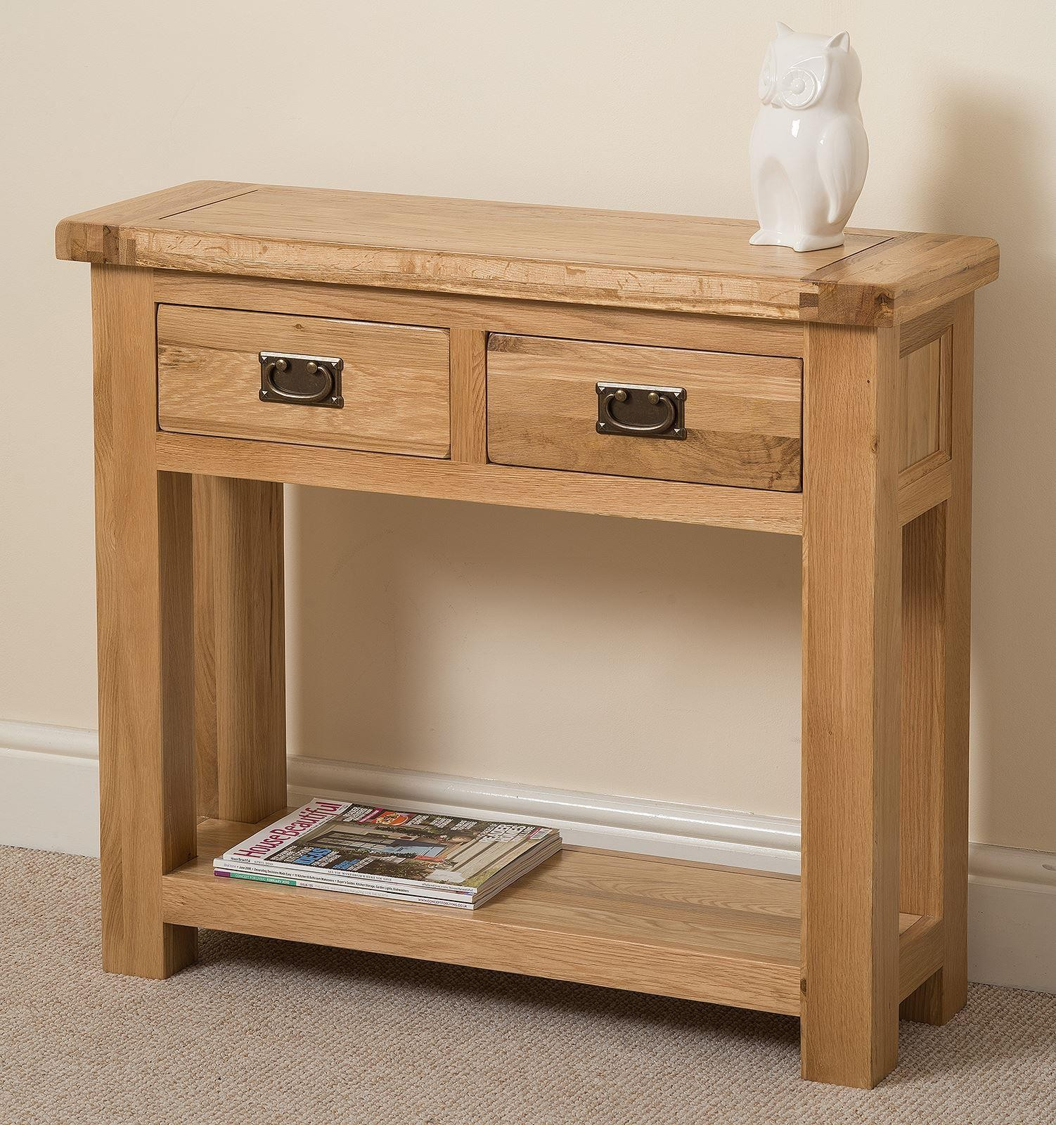 Cottage Light Solid Oak Console Table [2 Drawer]