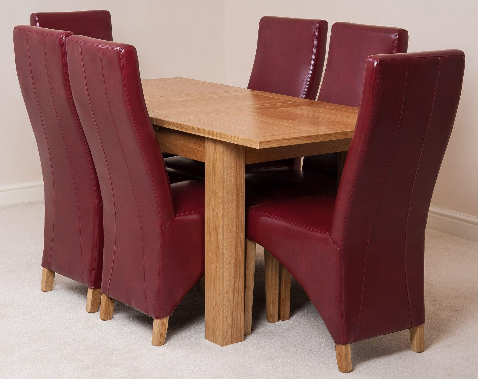 Hampton Solid Oak 120-160cm Extending Dining Table with 6 Lola Dining Chairs [Burgundy Leather]