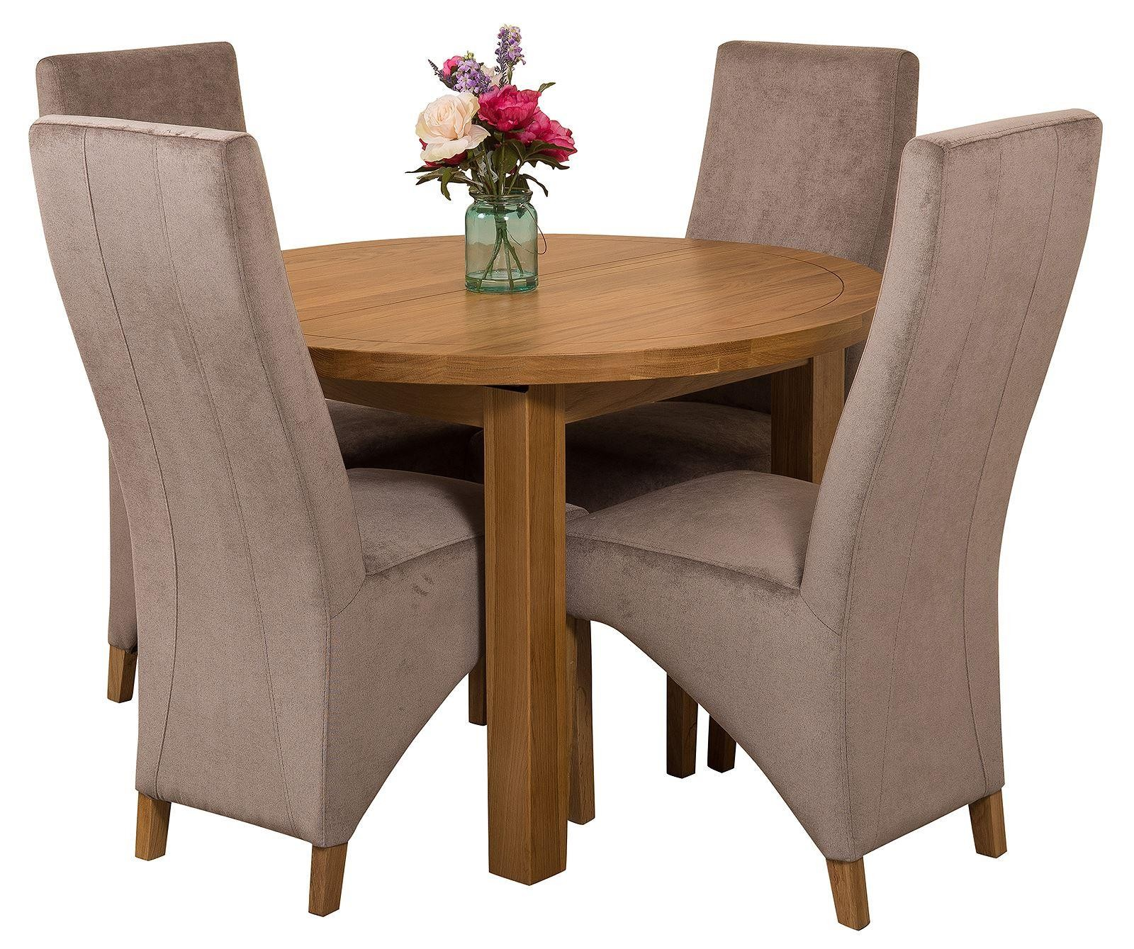 Edmonton Solid Oak Extending Oval Dining Table with 4 Lola Dining Chairs [Grey Fabric]