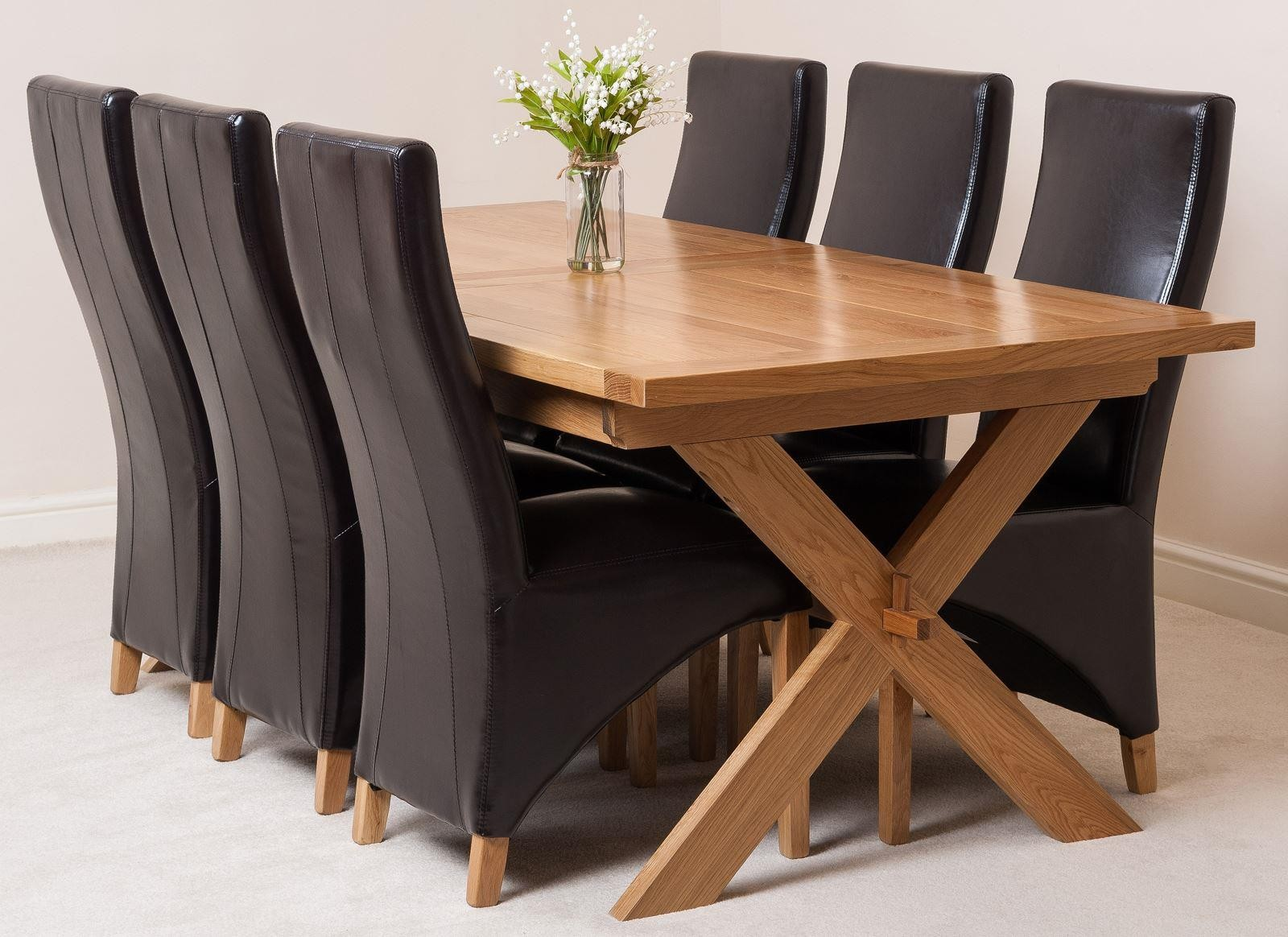 vermont solid oak 200cm 240cm crossed leg extending dining table with 6 lola dining chairs brown leather - Solid Oak Extending Dining Table And 6 Chairs