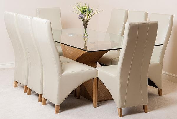 Valencia Oak 200cm Wood and Glass Dining Table with 8 Lola Dining Chairs [Ivory Leather]