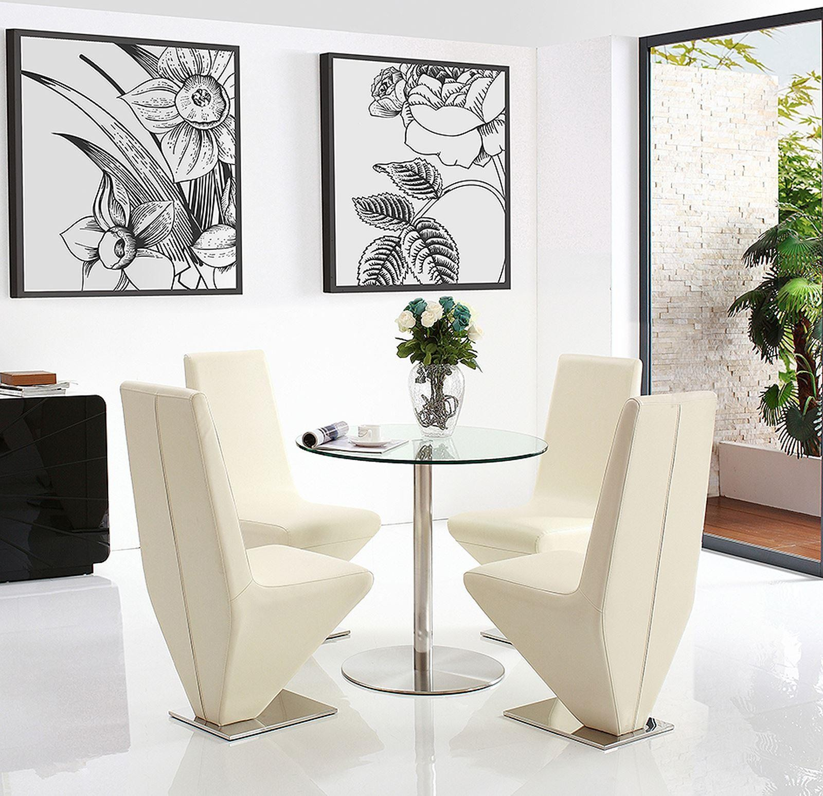 Target Round Glass and Steel 80cm Dining Table with 4 Rita Designer Dining Chairs [Ivory]