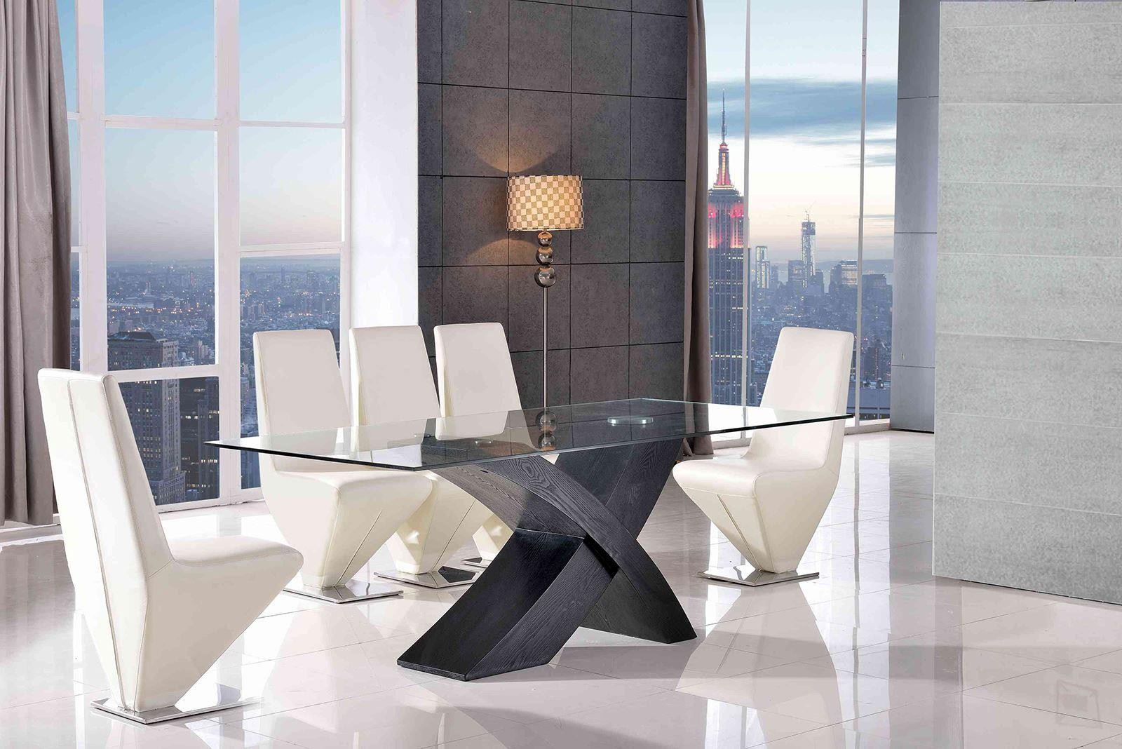 Valencia Black 200cm Wood and Glass Dining Table with 6 Rita Designer Dining Chairs [Ivory]