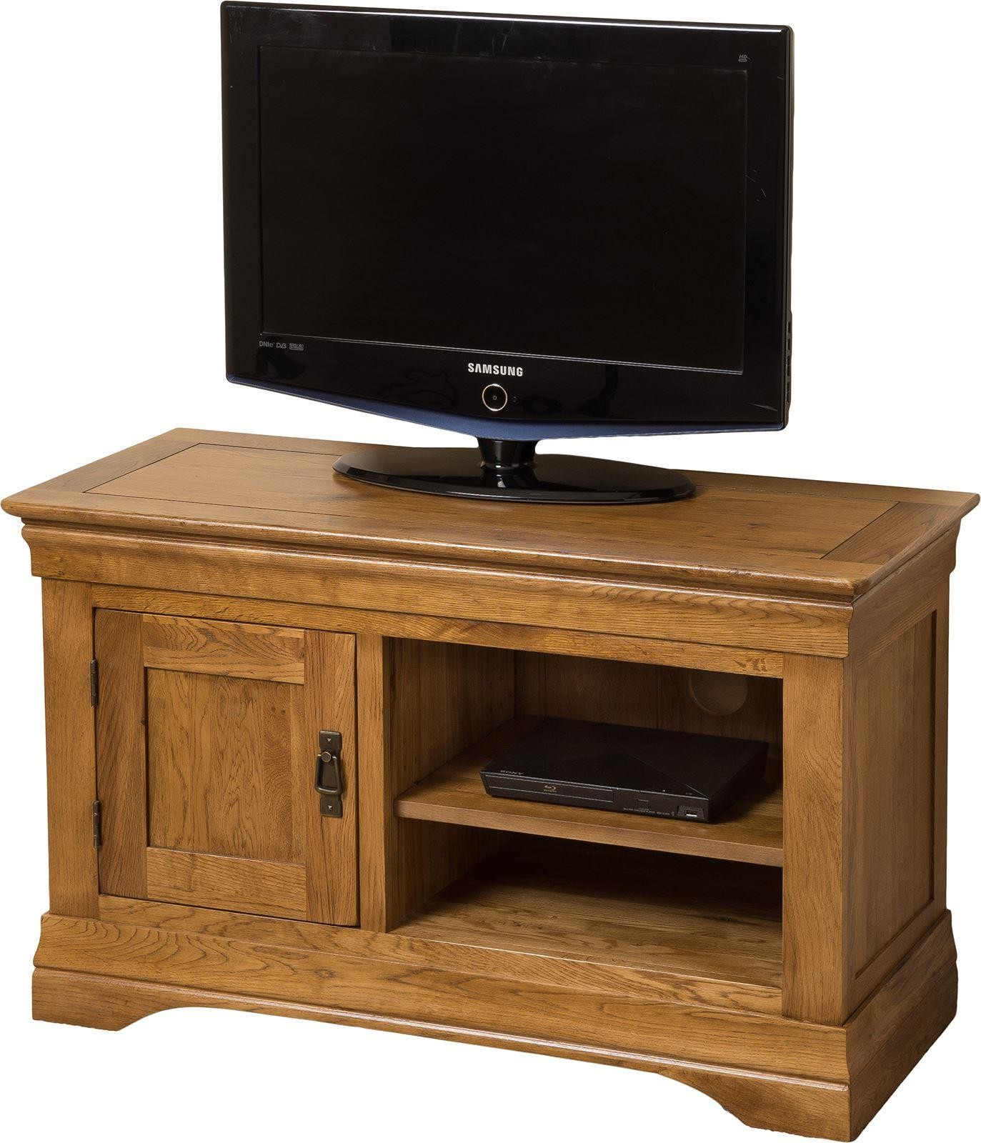 french chateau solid oak small tv cabinet modern. Black Bedroom Furniture Sets. Home Design Ideas