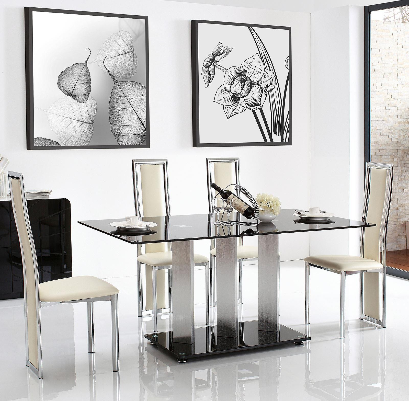 Vienna Black Glass 160cm Dining Table with 6 Elsa Designer Dining Chairs [Ivory]