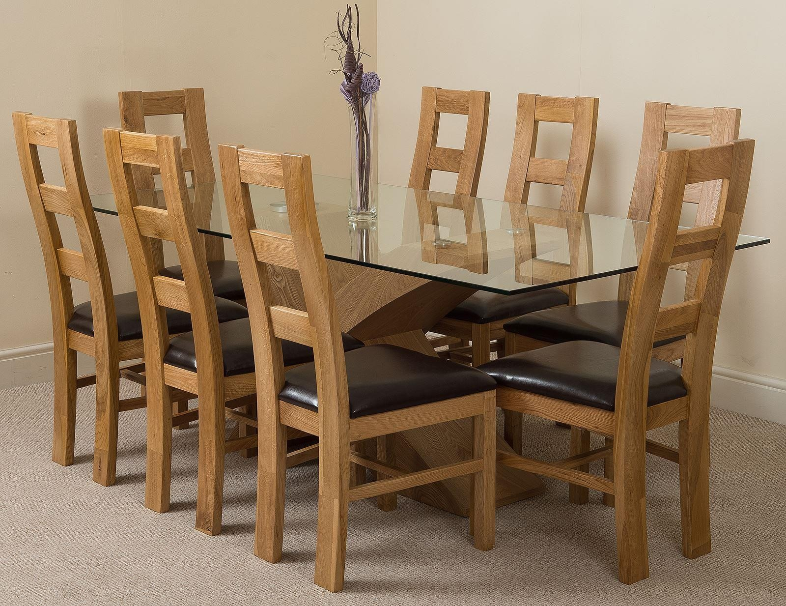 Valencia Oak 200cm Wood and Glass Dining Table with 8 Yale Solid Oak Dining Chairs [Light Oak and Brown Leather]
