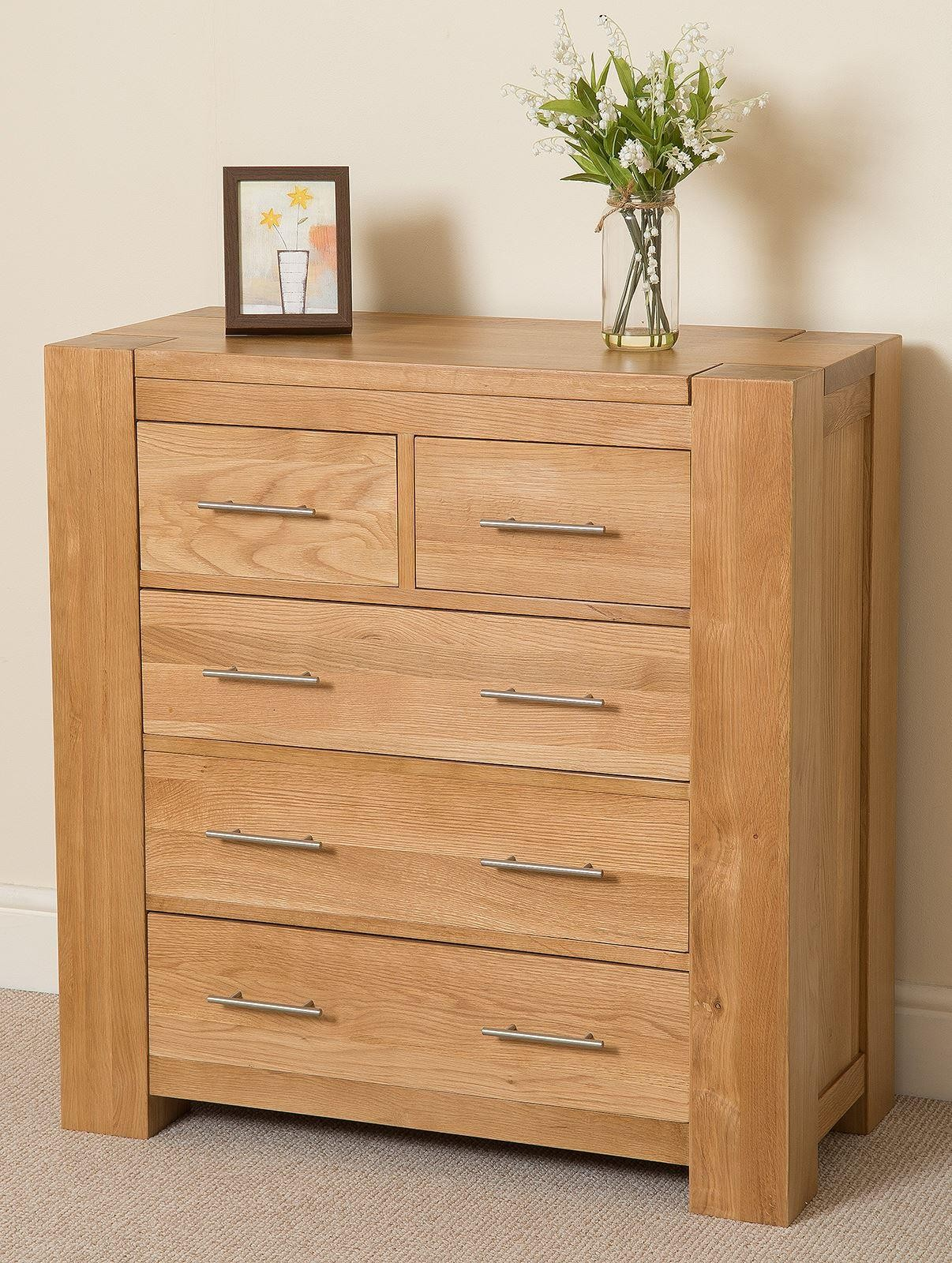Kuba Solid Oak Chest of Drawers [2+3 drawer] - Right Side
