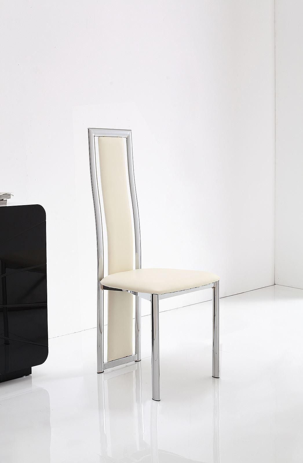 Elsa Designer Dining Chairs [Ivory Leather And Chrome]
