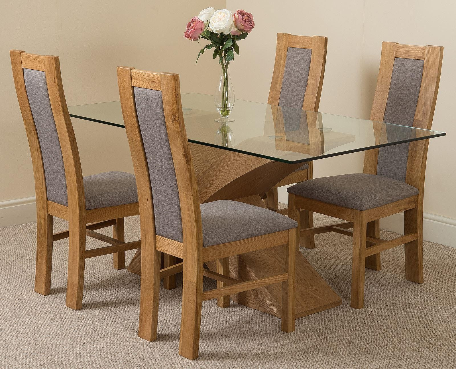 oak dining room sets. Valencia Oak 160cm Wood And Glass Dining Table With 4 Stanford Solid Chairs [Light Brown Leather] - Chair Room Sets