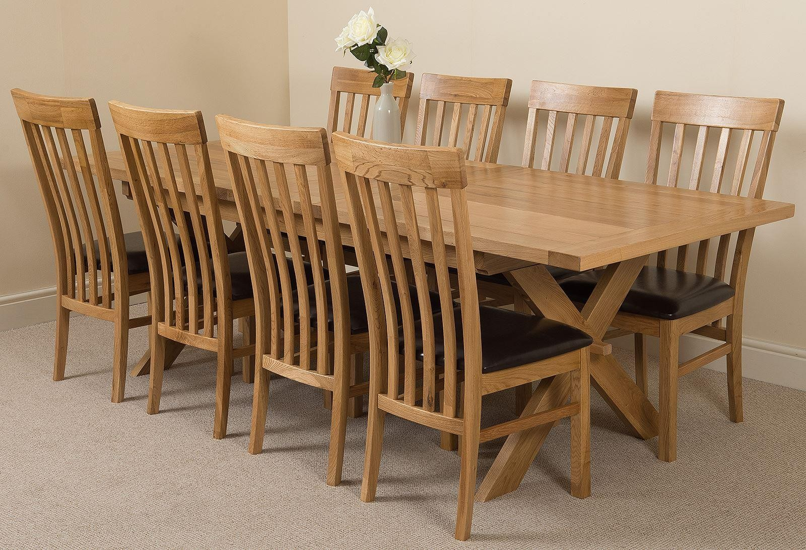 Vermont Solid Oak 200cm-240cm Crossed Leg Extending Dining Table with 8 Harvard Solid Oak Dining Chairs [Light Oak and Brown Leather]