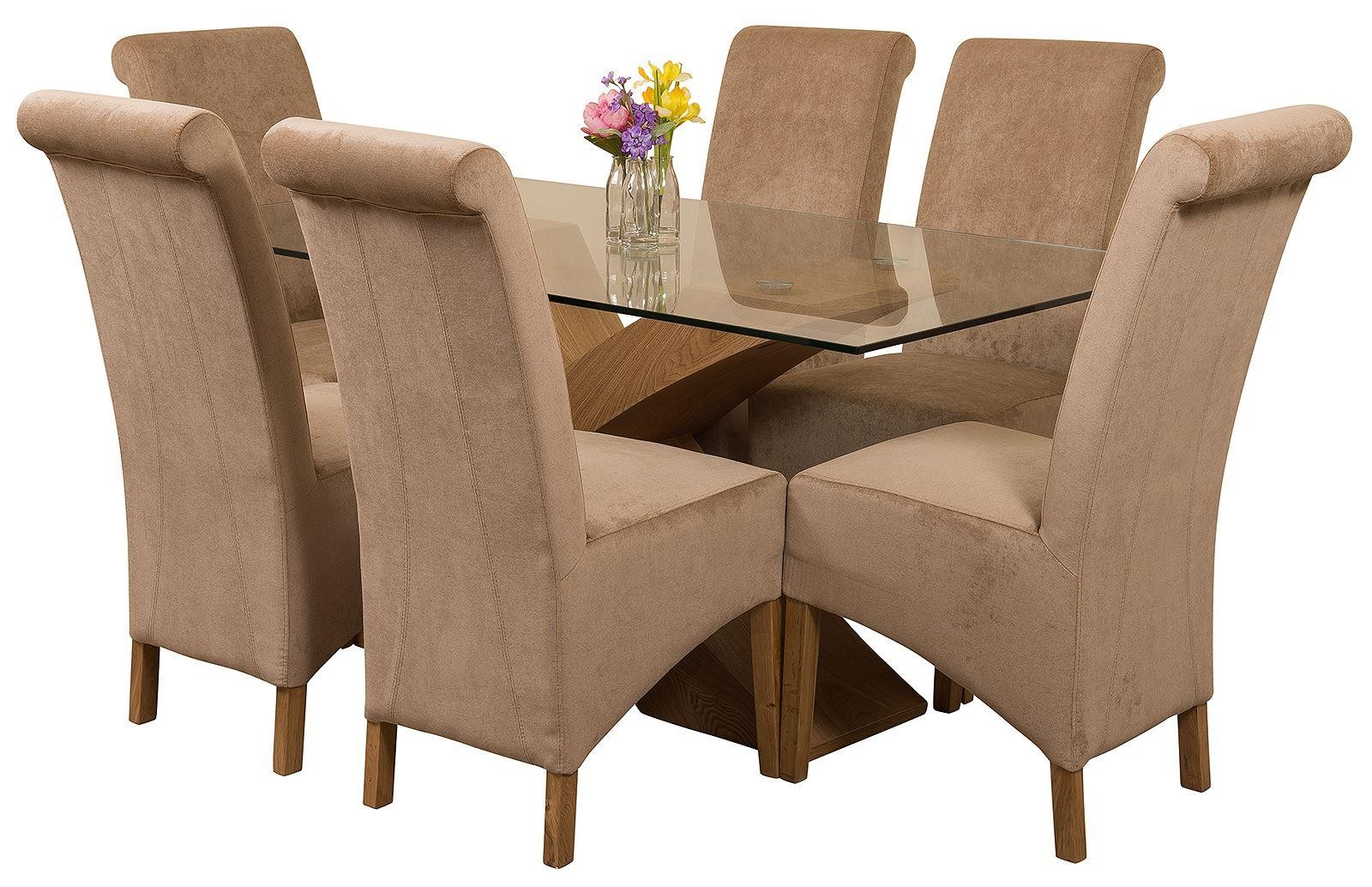 Valencia Oak 160cm Wood and Glass Dining Table with 6 Montana Dining Chairs [Beige Fabric]