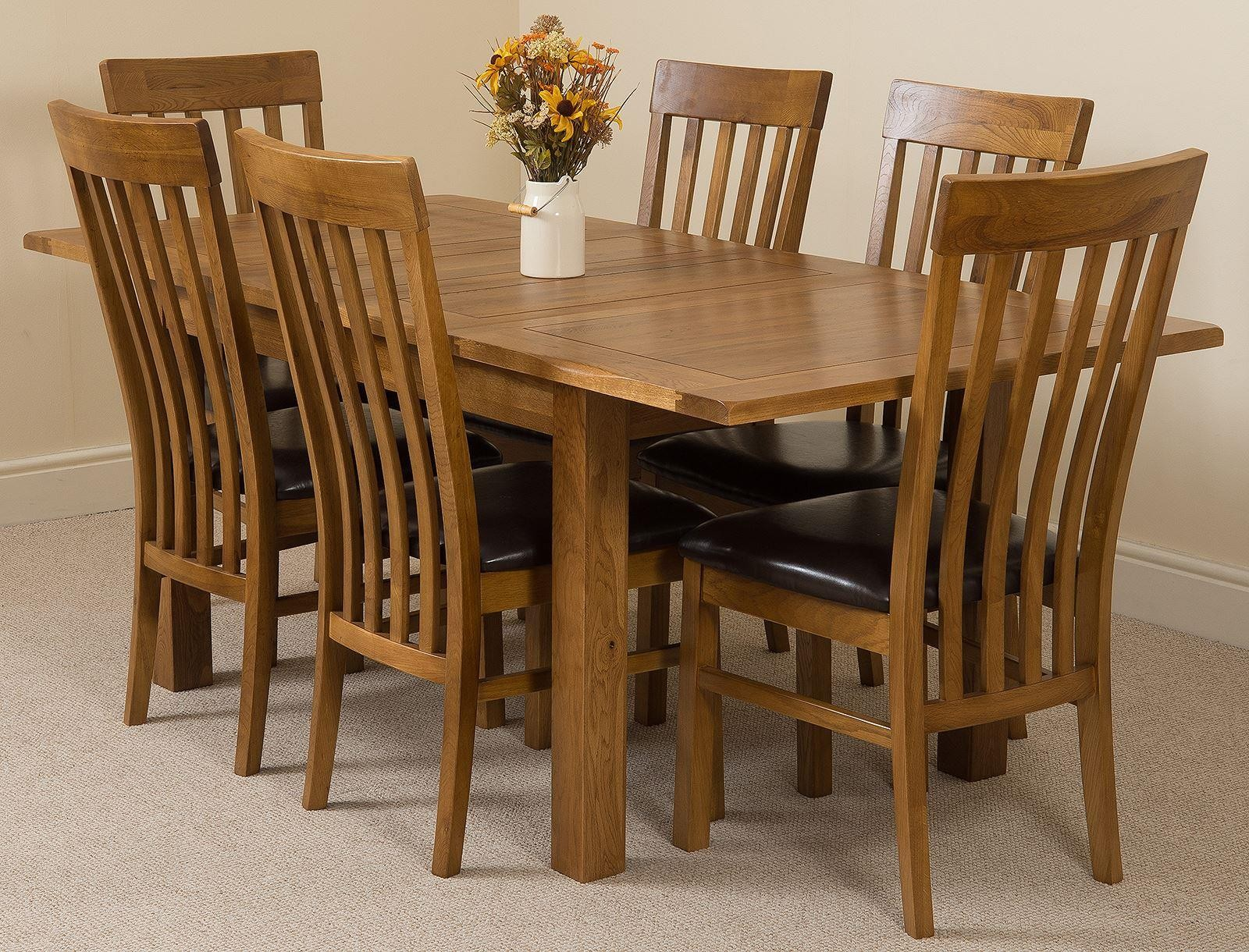 Cotswold Rustic Solid Oak 132cm-198cm Extending Farmhouse Dining Table with 6 Harvard Dining Chairs [Rustic Oak and Brown Leather]