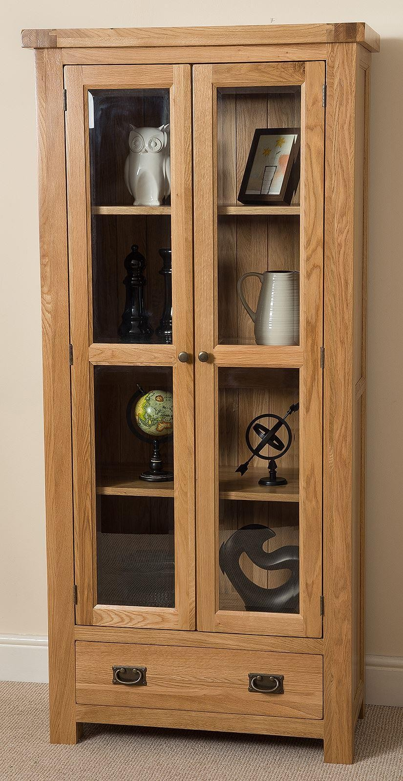 Cottage Light Solid Oak Display Cabinet