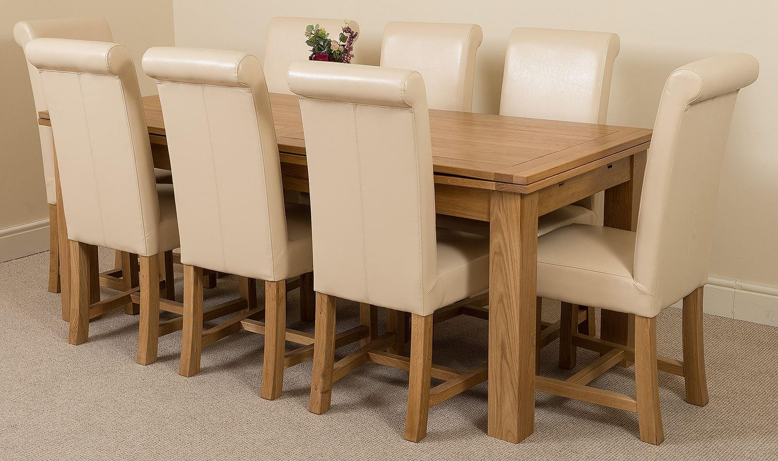 Richmond Extending Oak Dining Table With 8 Ivory Washington Dining Chairs