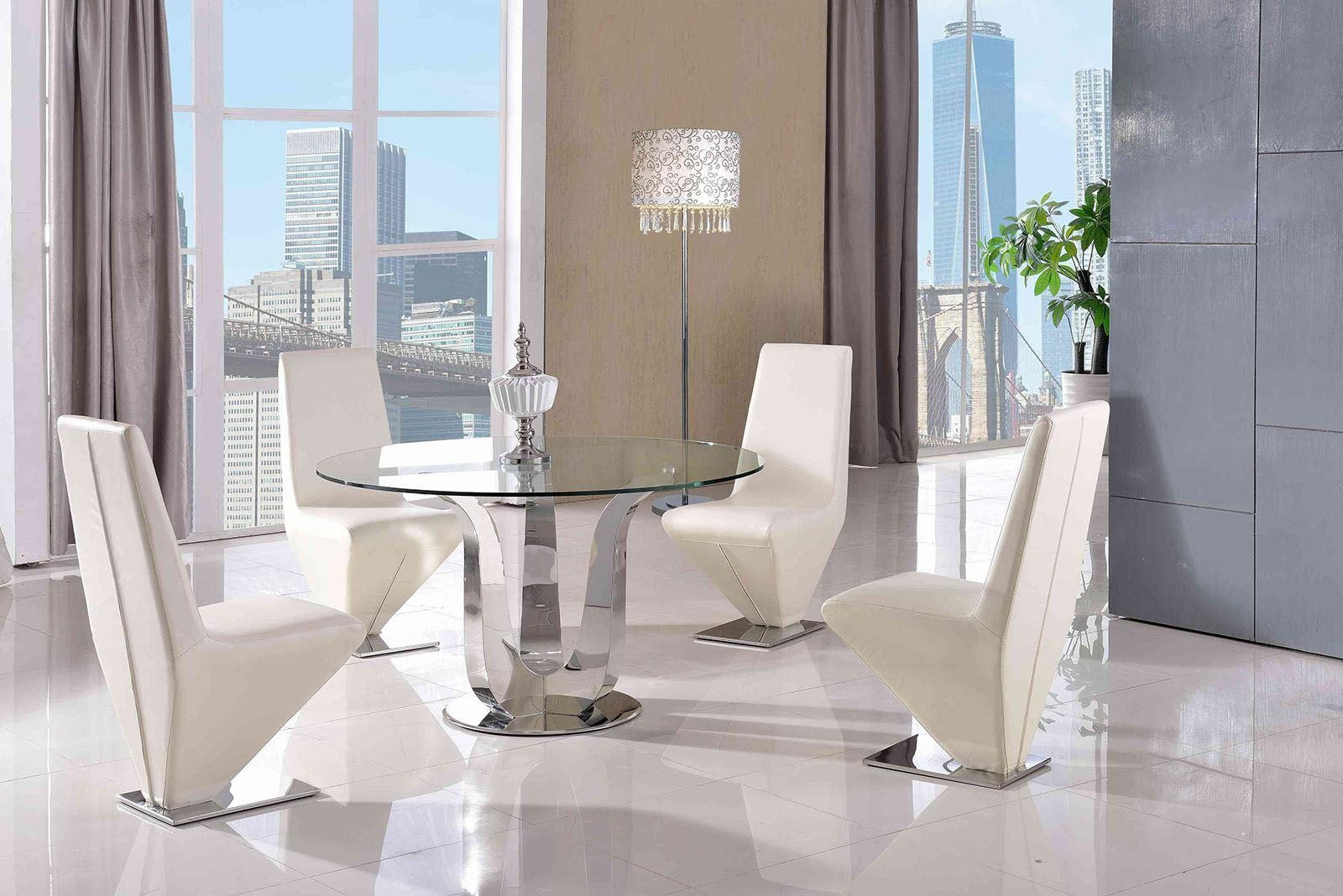 Naples Glass and Polished Steel Dining Table with 4 Rita Designer Dining Chairs [Ivory]