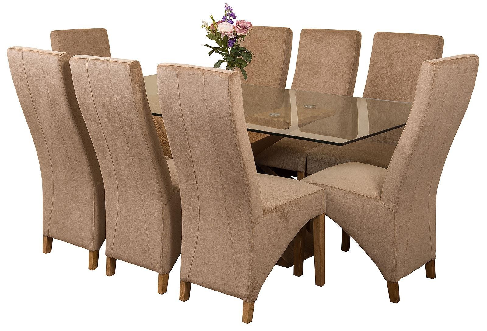 Valencia Oak 200cm Wood and Glass Dining Table with 8 Lola Dining Chairs [Beige Fabric]