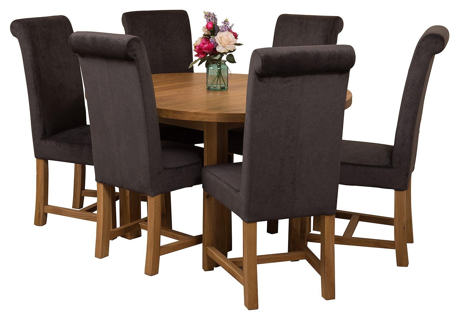Edmonton Solid Oak Extending Oval Dining Table With 6 Washington Chairs Black Fabric