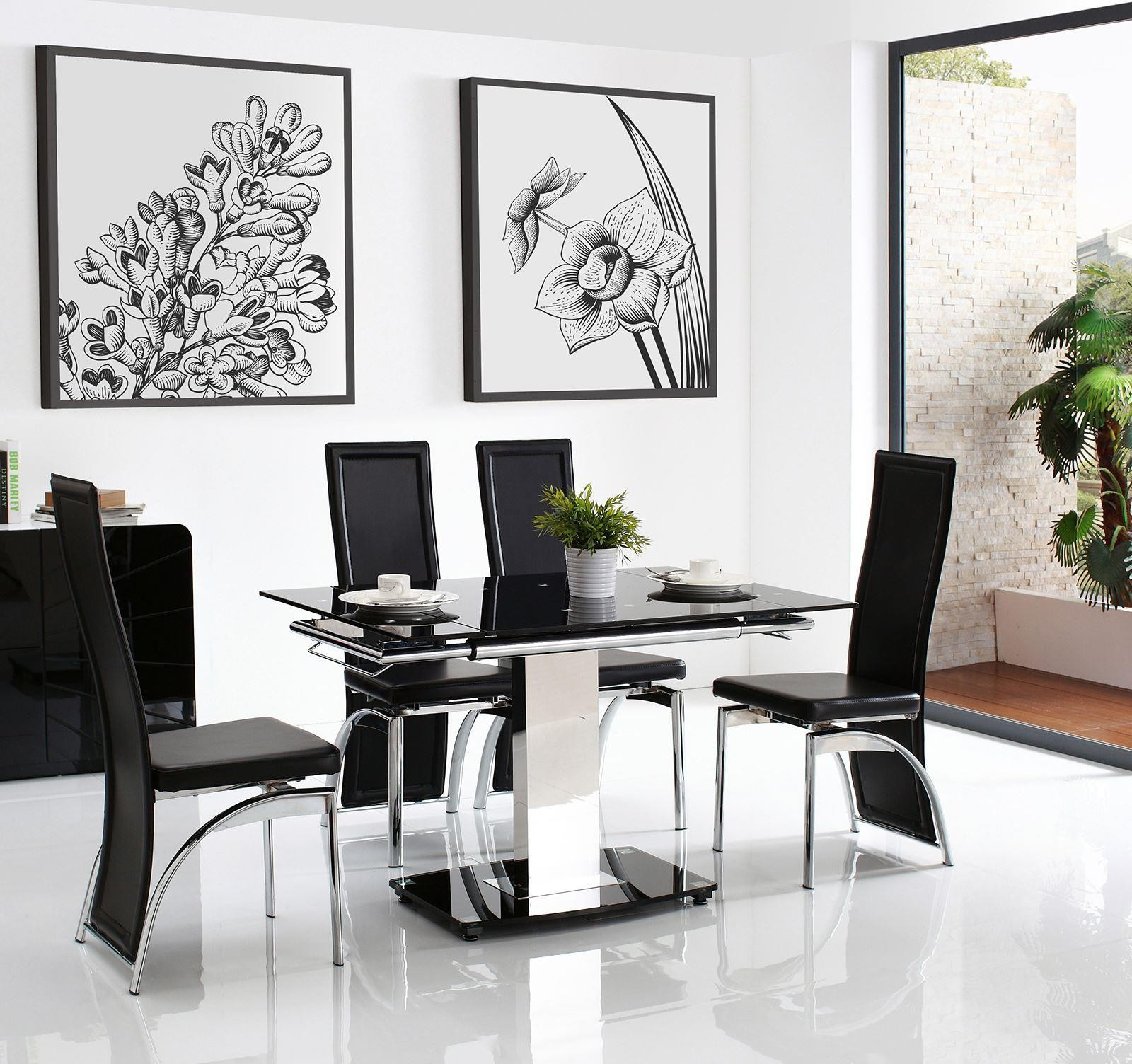 Enzo 80-120cm Extending Glass Dining Table with 6 Alisa Dining Chairs [Black]