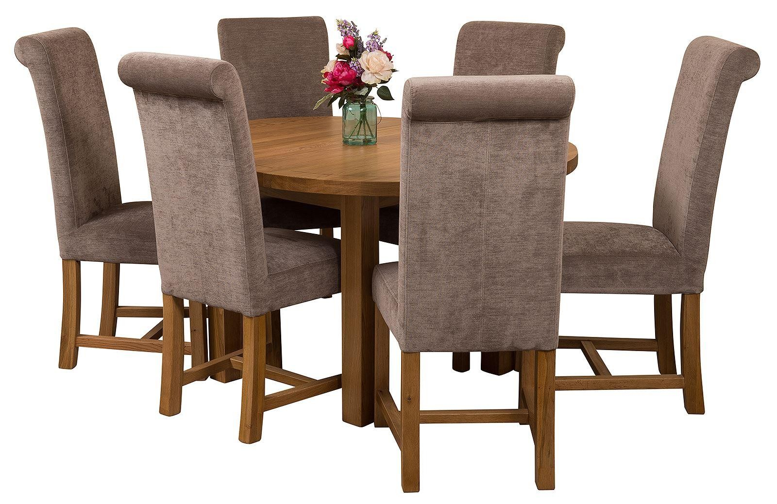 Edmonton Solid Oak Extending Oval Dining Table With 6 Washington Chairs Grey Fabric