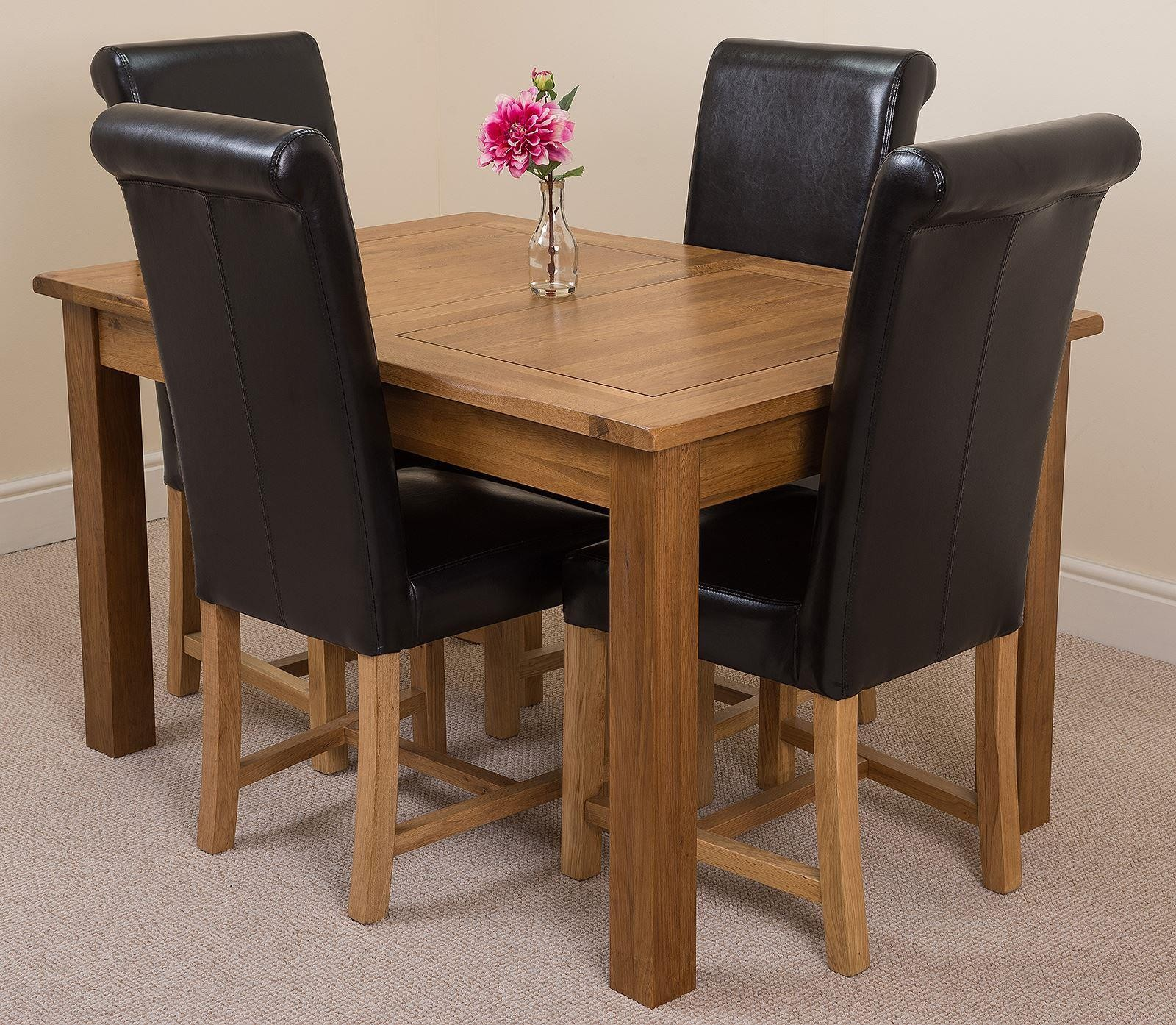 Cotswold Rustic Solid Oak 132cm-198cm Extending Farmhouse Dining Table with 4 Washington Dining Chairs [Black Leather]