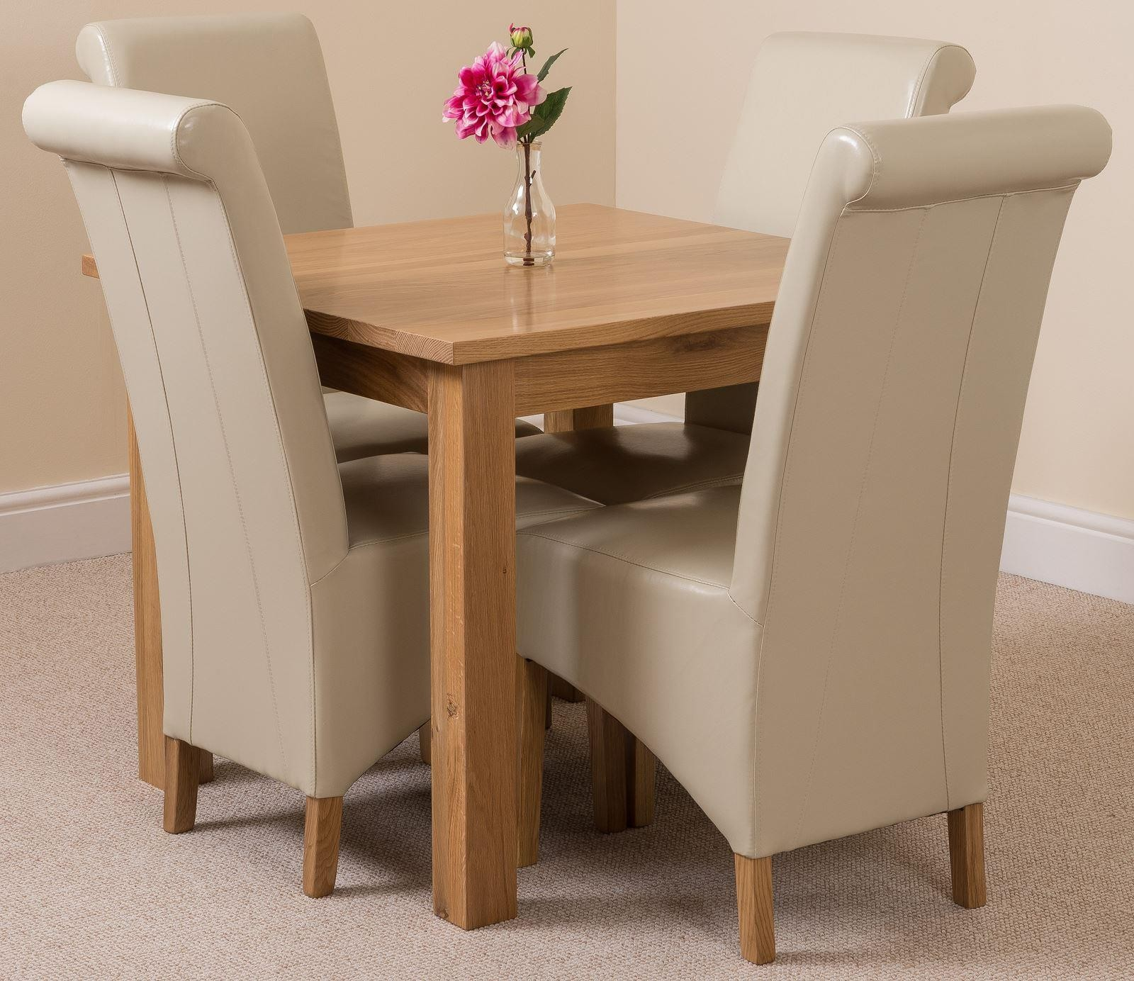 Oslo Solid Oak Dining Table with 4 Montana Dining Chairs [Ivory Leather]