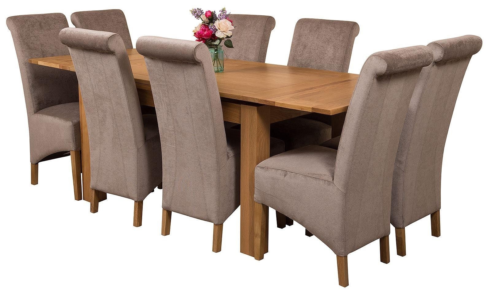 Richmond Solid Oak 140cm-220cm Extending Dining Table with 8 Montana Dining Chairs [Grey Fabric]