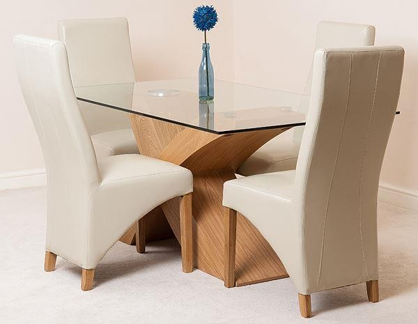Valencia Oak 160cm Wood and Glass Dining Table with 4 Lola Dining Chairs [Ivory Leather]