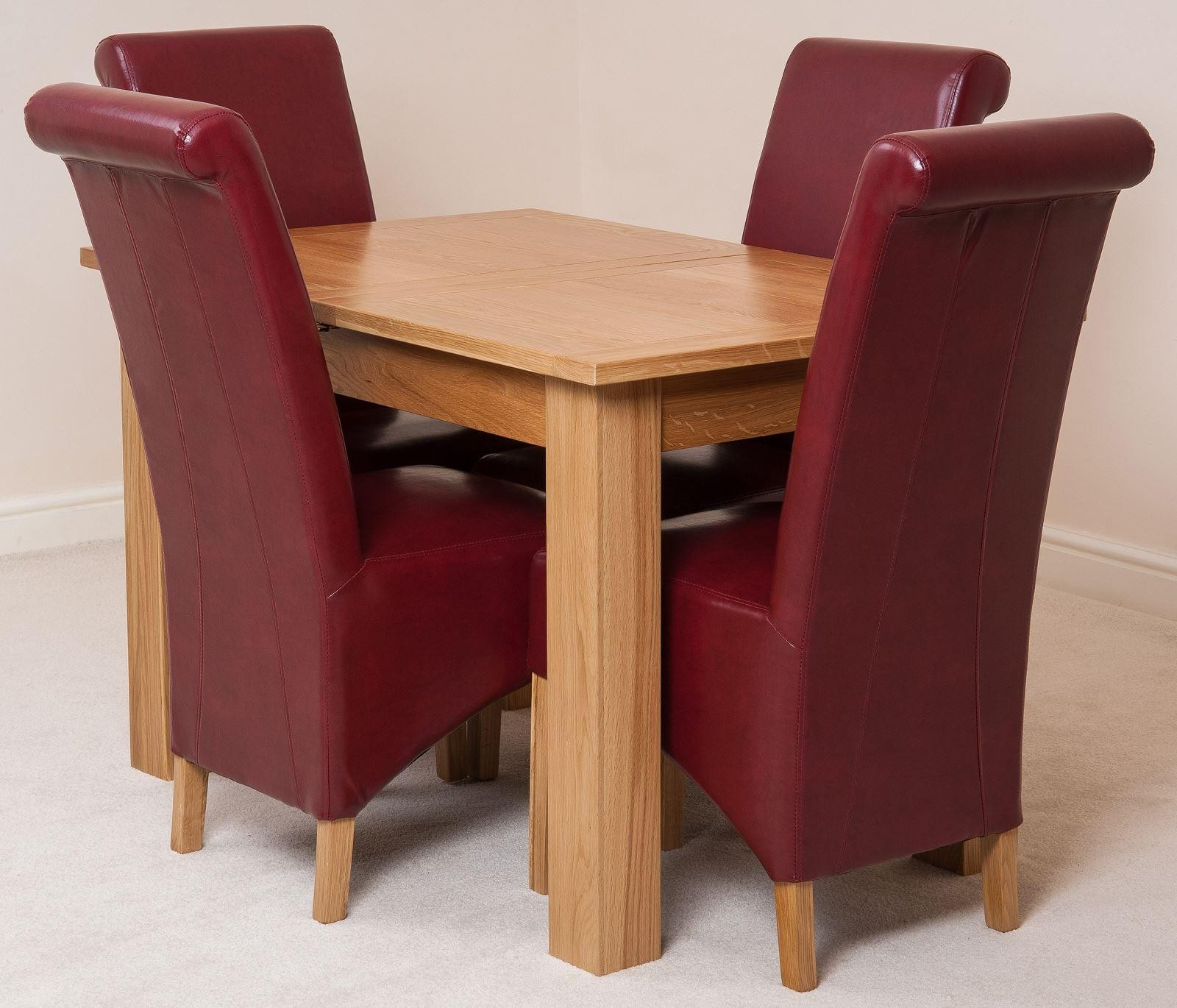 Hampton Solid Oak 120-160cm Extending Dining Table with 4 Montana Dining Chairs [Burgundy Leather]