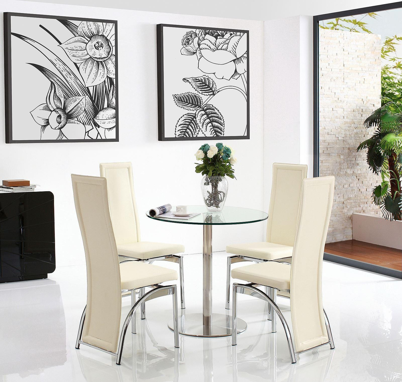 target dining set with 4 ivory chairs modern furniture. Black Bedroom Furniture Sets. Home Design Ideas