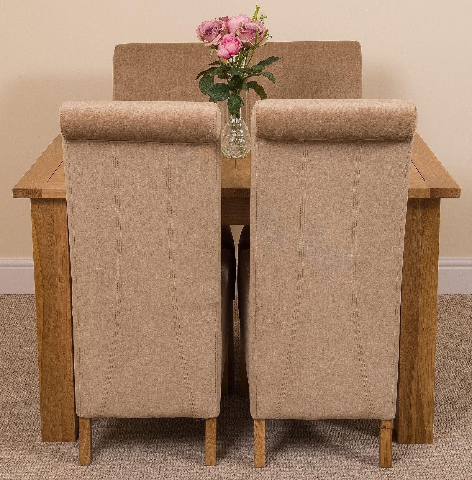 Hampton Solid Oak 120-160cm Extending Dining Table with 4 Montana Dining Chairs [Beige Fabric]