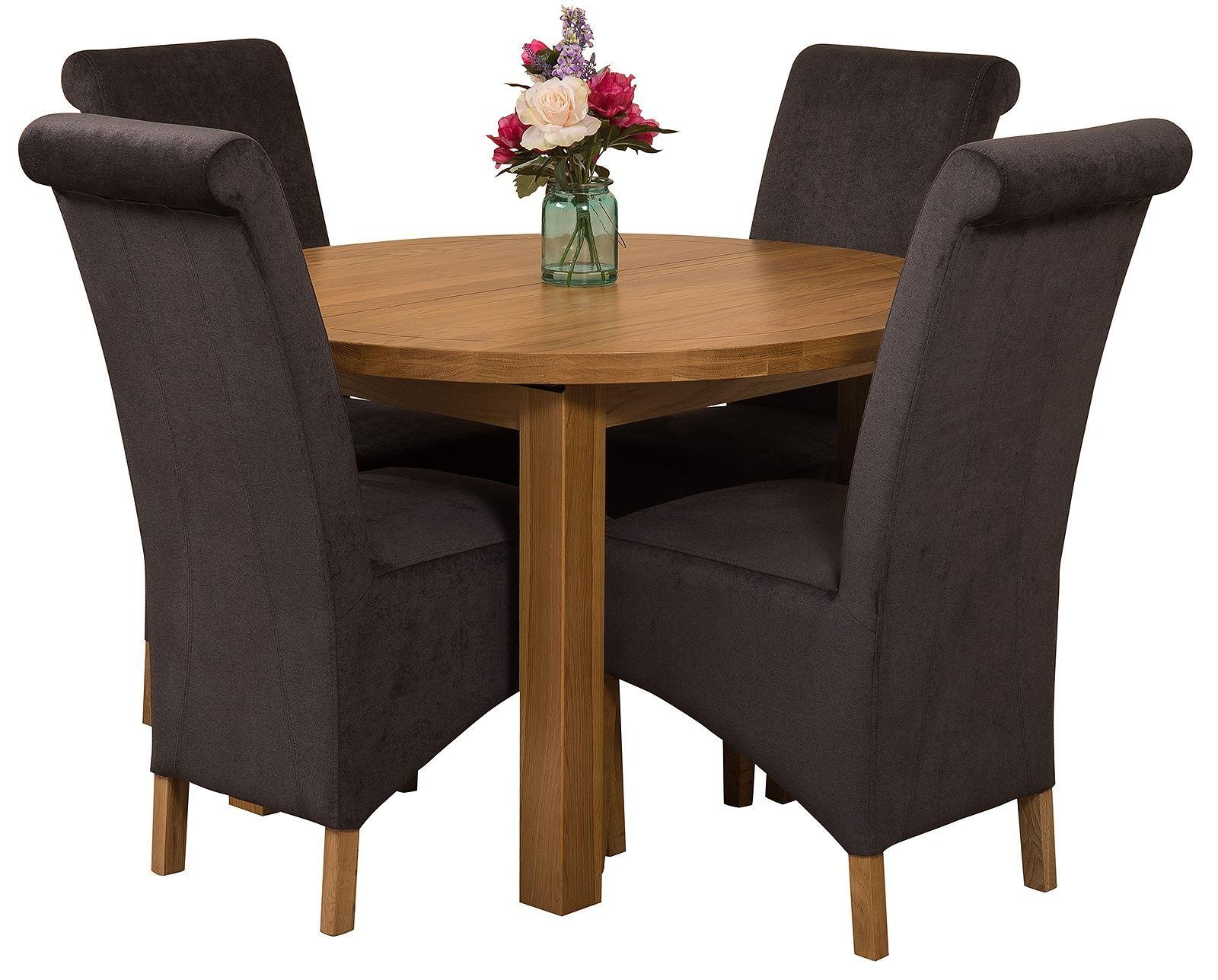 Edmonton Solid Oak Extending Oval Dining Table with 4 Montana  Dining Chairs [Black Fabric]