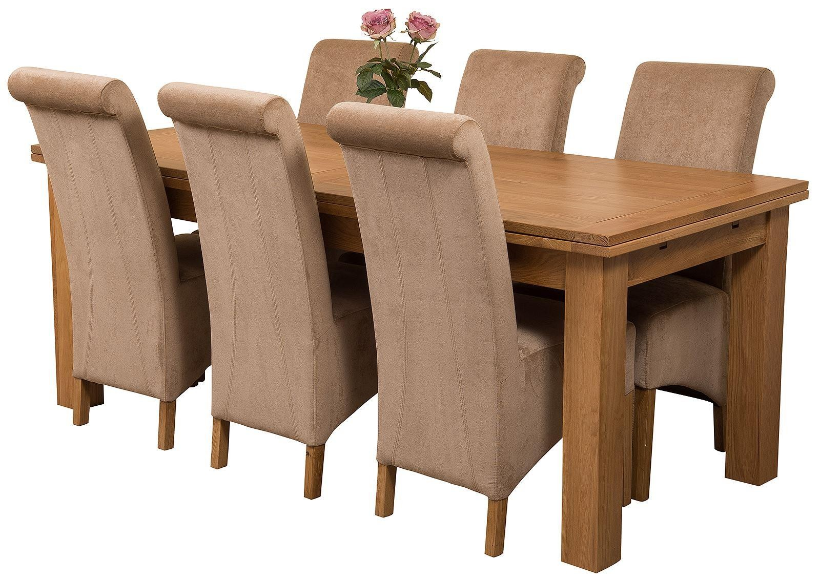 Richmond Solid Oak 200cm-280cm Extending Dining Table with 6 Montana Dining Chairs [Beige Fabric]