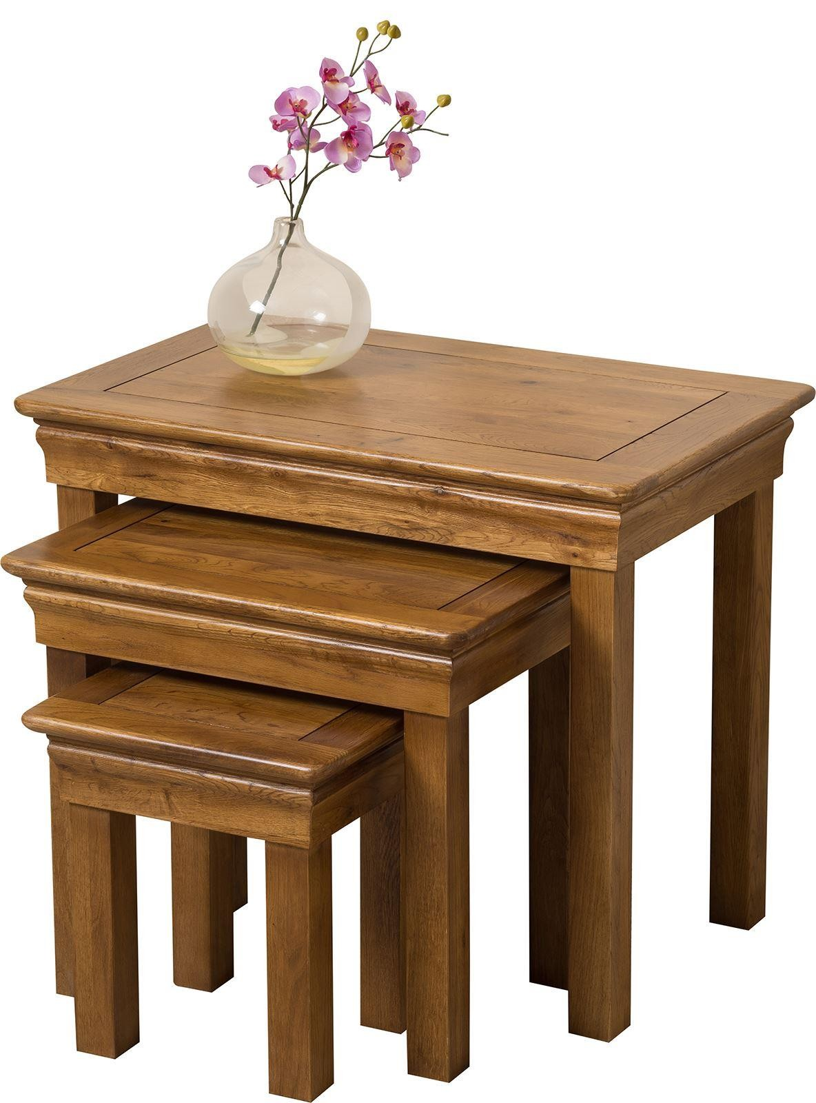 French Chateau Rustic Solid Oak Nest of Tables [3 Tables]
