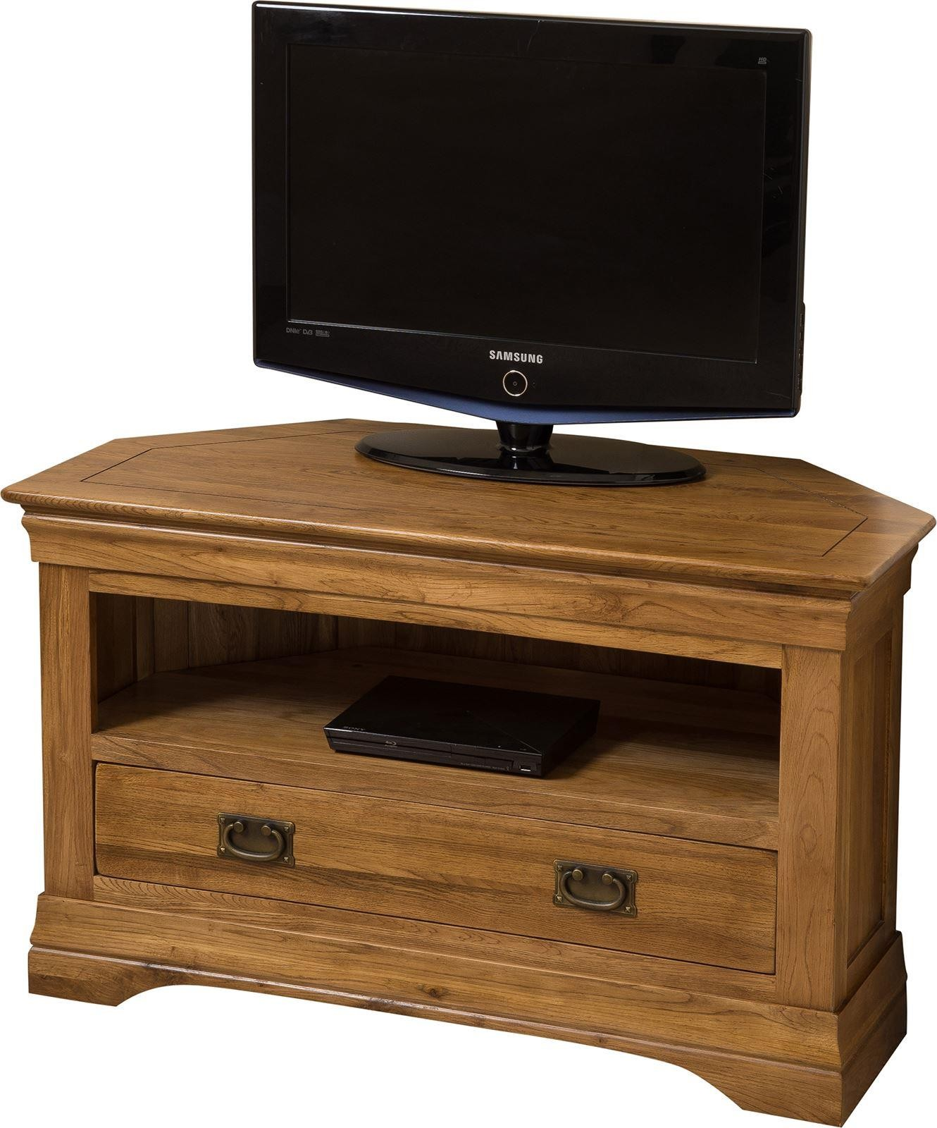 French Chateau Rustic Solid Oak TV Corner Cabinet
