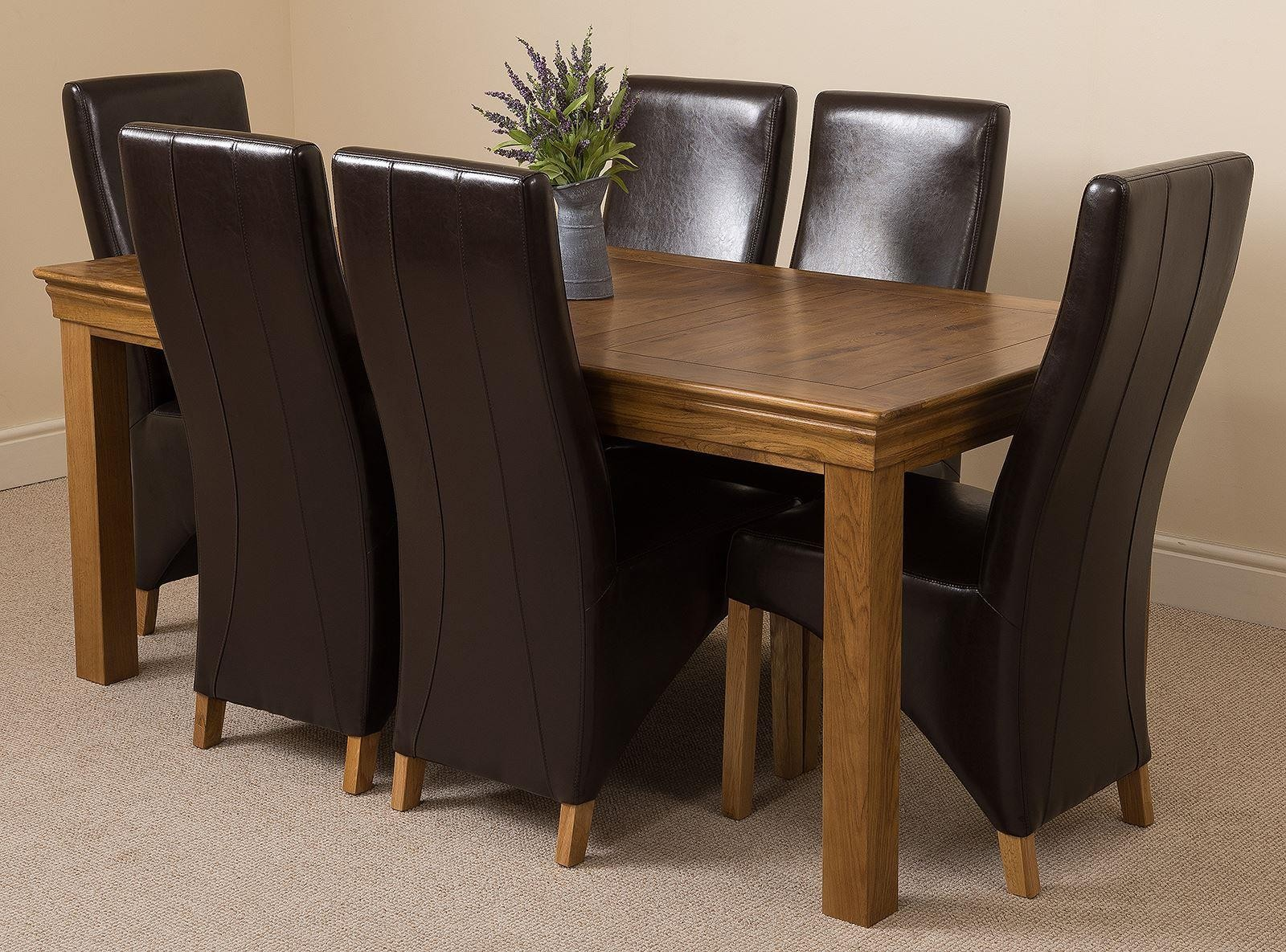 French Chateau Rustic Solid Oak 180cm Dining Table with 6 Lola Dining Chairs [Brown Leather]
