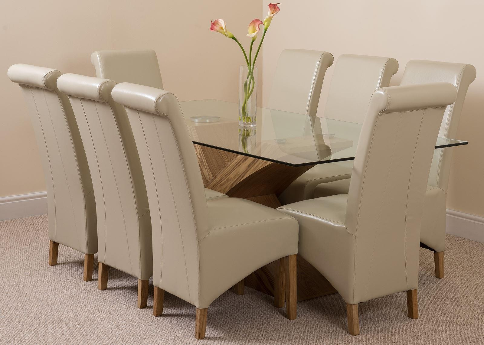 Valencia oak 200cm glass dining set with 8 ivory chairs for Modern furniture direct