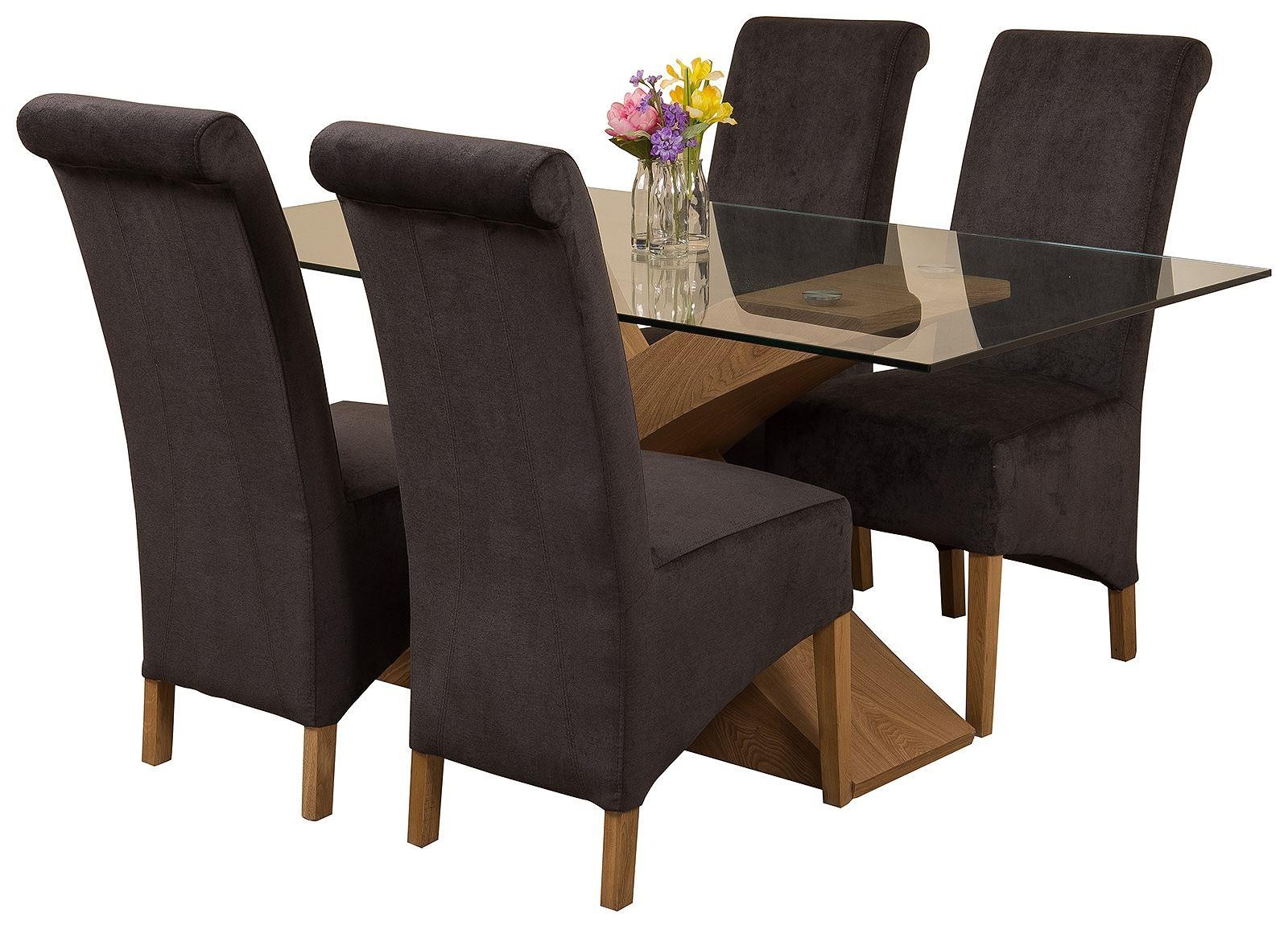Valencia Oak 160cm Wood and Glass Dining Table with 4 Montana Dining Chairs [Black Fabric]