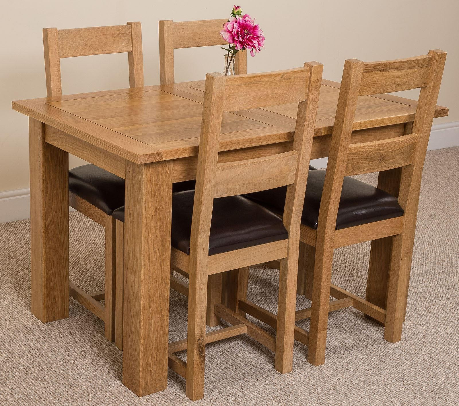 Hampton Solid Oak 120-160cm Extending Dining Table with 4 Lincoln Solid Oak Dining Chairs [Light Oak and Brown Leather]