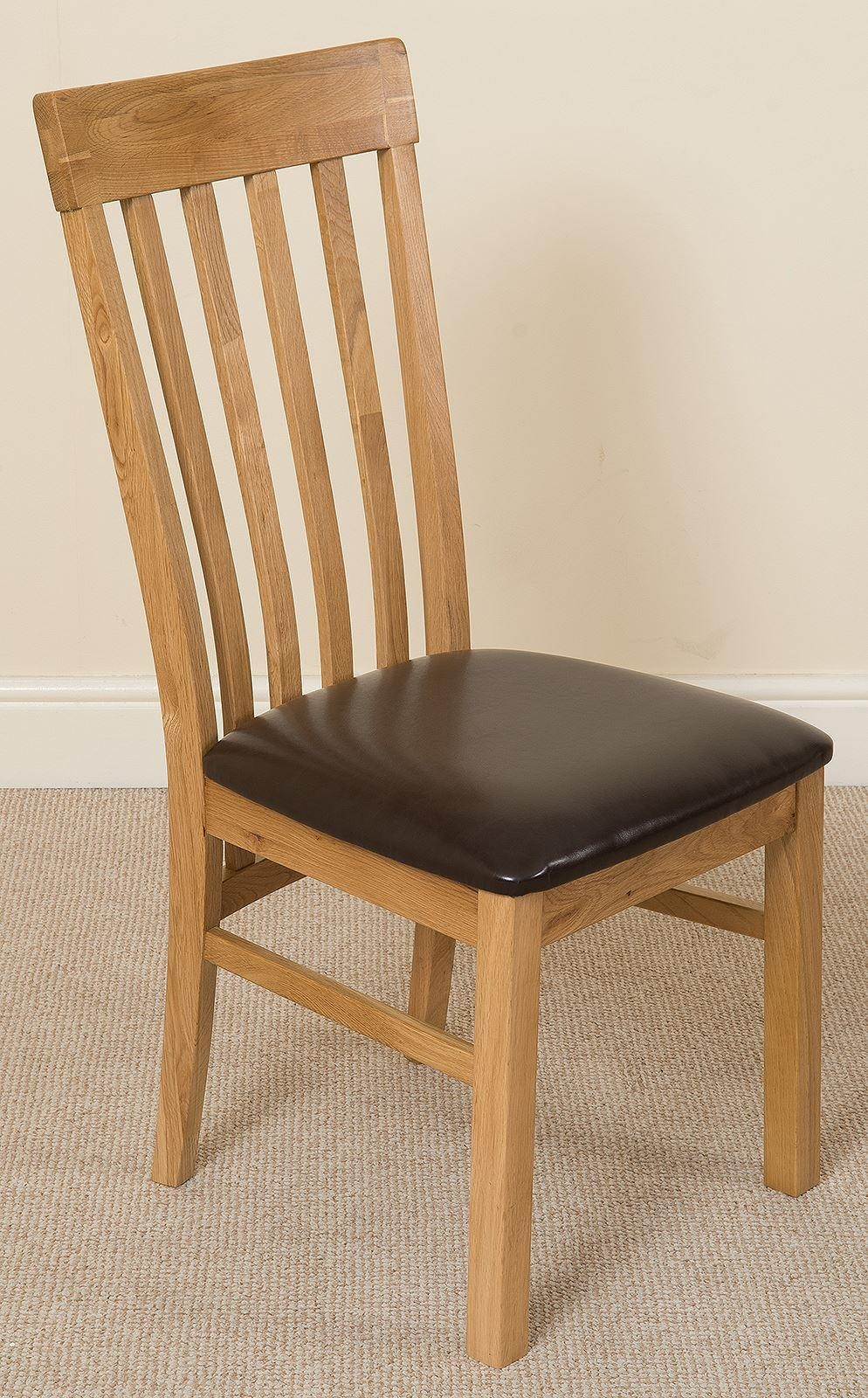 Harvard Solid Oak Dining Chair [Light Oak and Brown Leather]