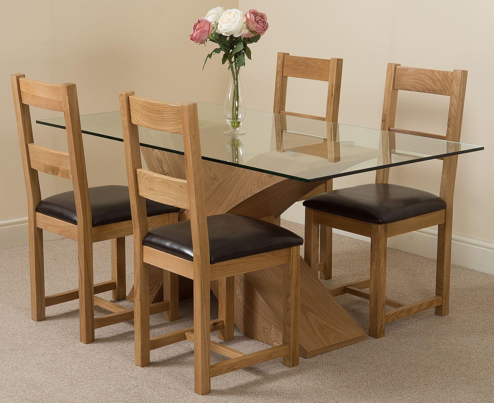 Valencia Oak 160cm Wood And Glass Dining Table With 4 Lincoln Solid Chairs Light Brown Leather